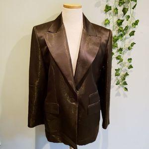 Linda Allard Ellen Tracy Metallic Silk Blazer